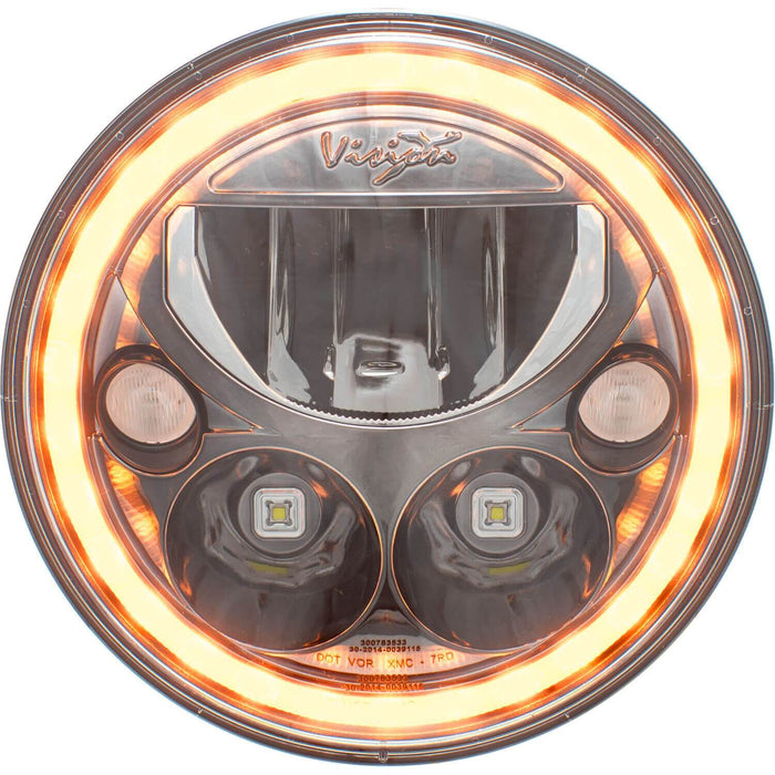 "2007-2017 Jeep JK 7"" Headlight Round VX Black Chrome Amber Halo Kit (with Low-High-Halo)"