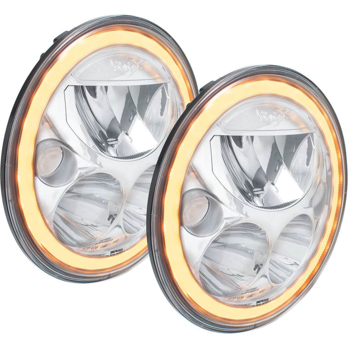 "2007-2017 7"" Jeep JK Amber Halo Round VX Headlights (with Low-High-Halo)"