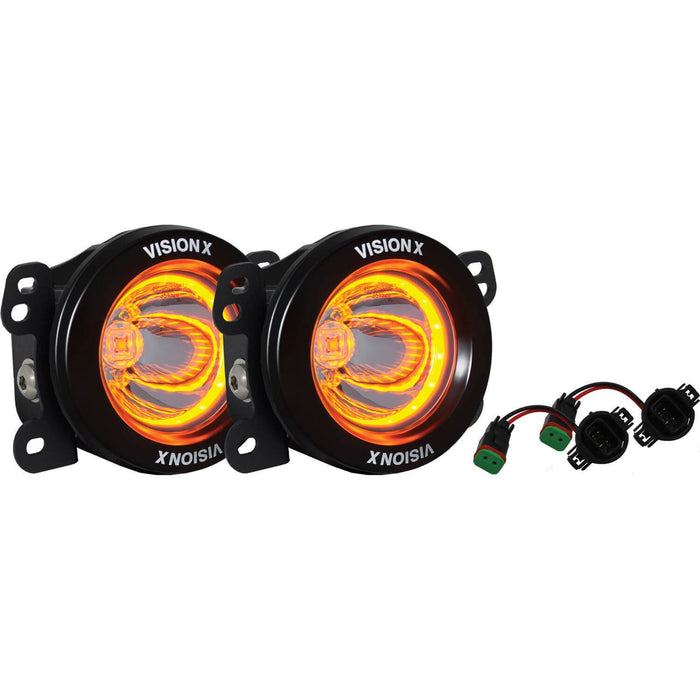 2010-2017 Jeep JK Factory Fog Light Upgrade Kit (with Optimus Amber Halo LED)