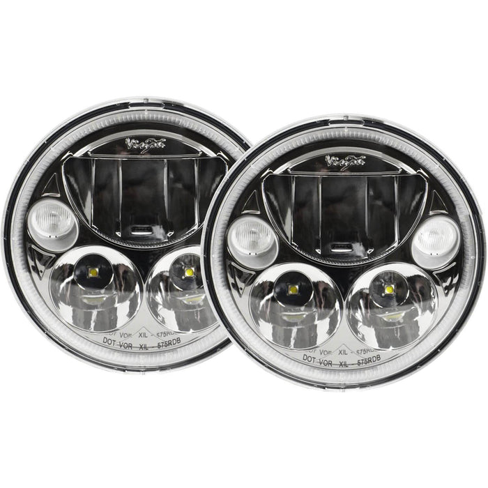 "5.75"" Black Chrome Face Round VX Headlight Kit (with Low-High-Halo)"