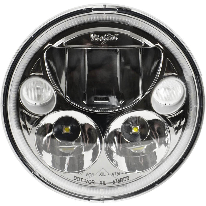 "5.75"" Single Black Chrome Face Round VX Headlight (with Low-High-Halo)"