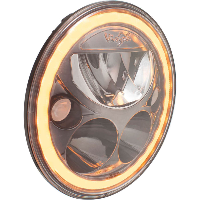 "Single 7"" Round  Black Chrome Amber Halo VX Headlight (with Low-High-Halo)"