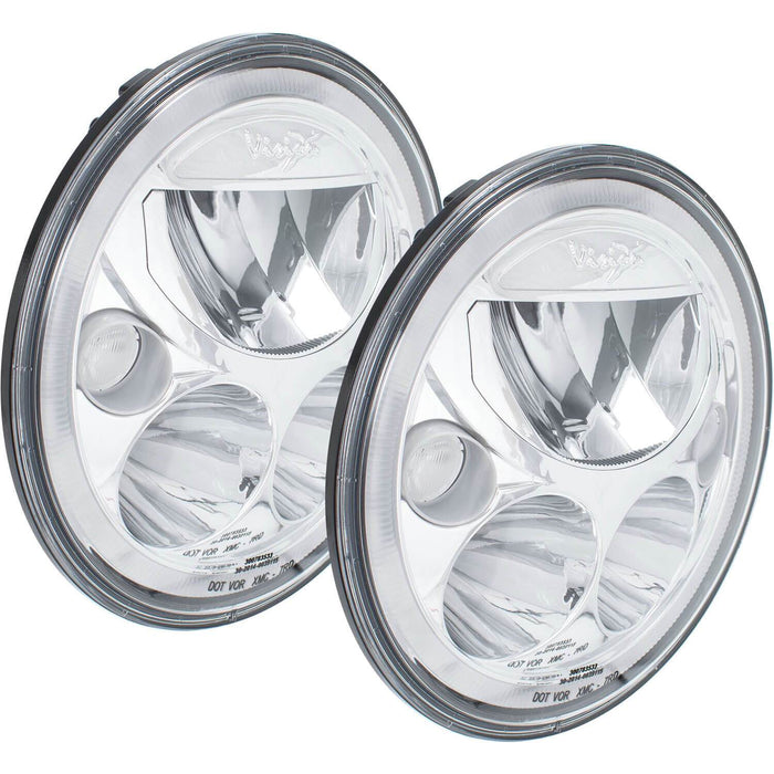 "Pair of 7"" Round Amber Halo VX Headlight (with Low-High-Halo)"