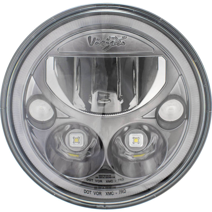 "Single 7"" Round Black Chrome VX Headlight (with Low-High-Halo)"