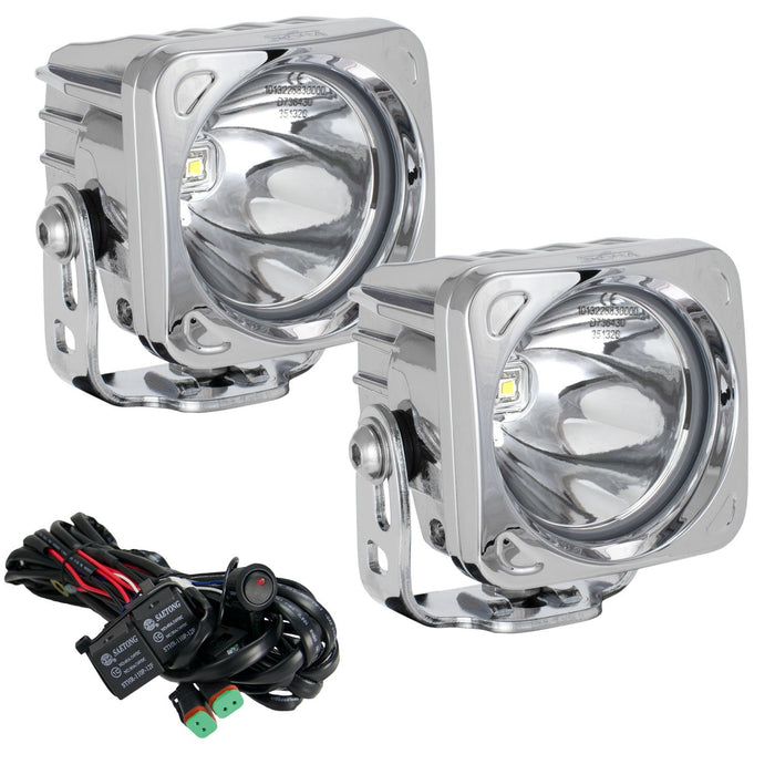 "3"" Optimus Chrome Square 10º Beam LED Light Kit"