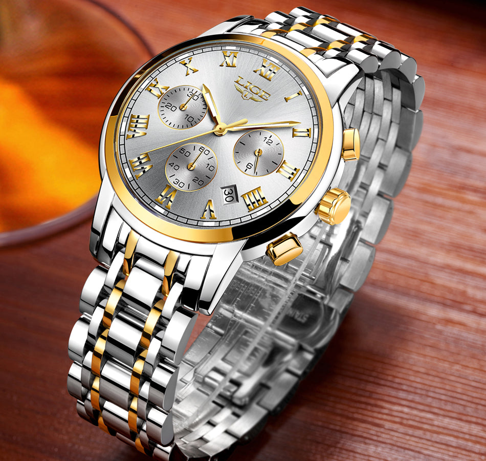 LIGE - Men's Full Steel Luxury Watch