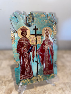 Saint Constantino & Eleni religious icon - ready to ship