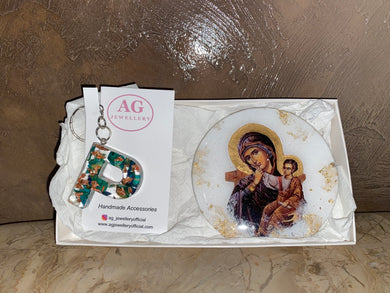 Gift Set - Mother Mary Icon &  P Keyring