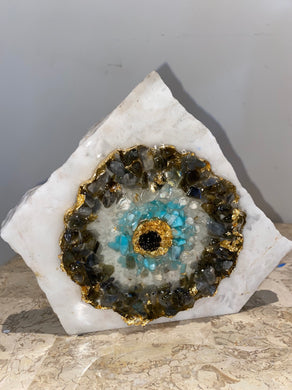 Natural gemstone Mati evil eye on white marble - free standing - used as evil eye