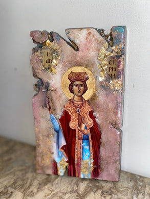 Saint Irene Religious handmade icon - Original ready to ship
