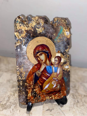 Mother Mary & baby Jesus religious icon - ready to ship