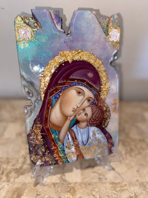 Mary with baby Jesus -Panagia religious icon - Ready to ship