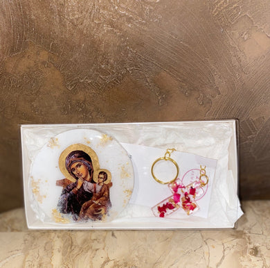 Gift Set - Mother Mary Icon & Cross Keyring