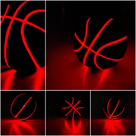 Black PU Leather Basketball With LED Light