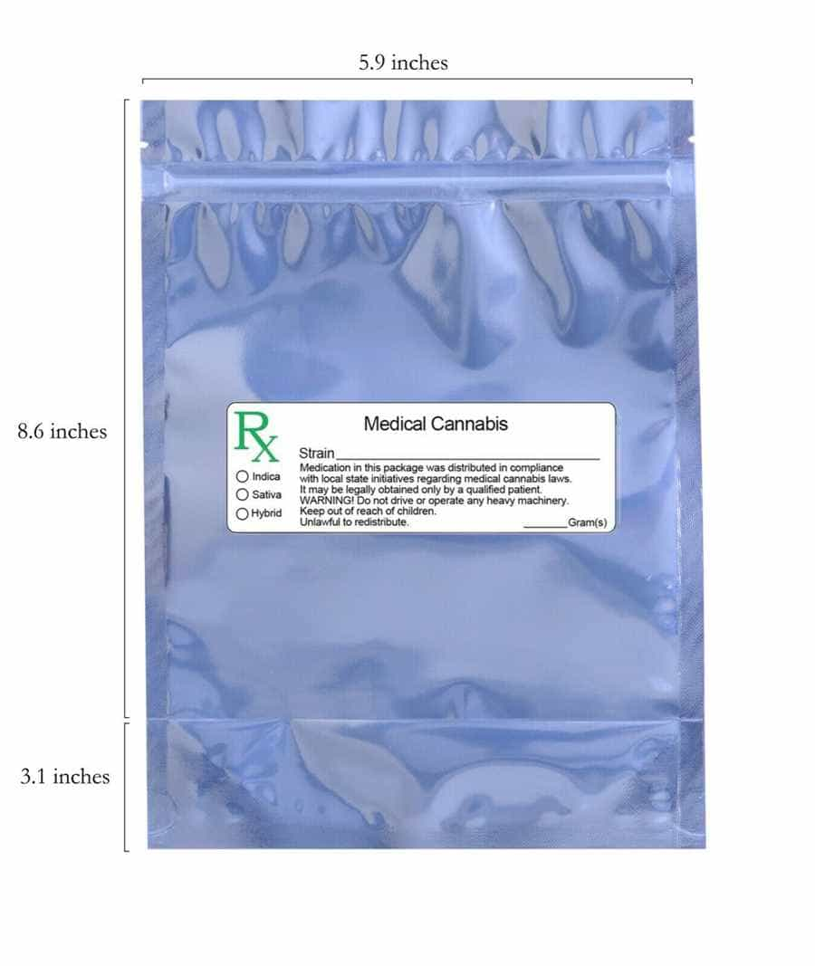 clear mylar smell proof bags with prescription label