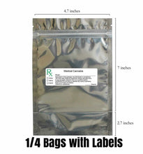 Load image into Gallery viewer, clear mylar bag medical cannabis Rx label