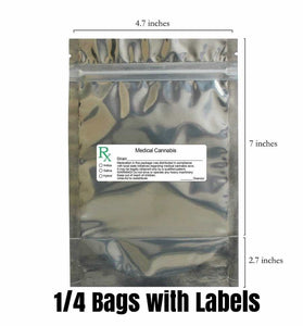 clear mylar bag medical cannabis Rx label