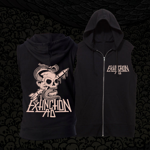 Extinction AD Snake & Skull Black Sleeveless Zip-Up Sweatshirt