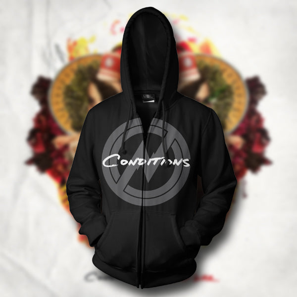 *Last One* Circle Symbol Black Zip-Up Sweatshirt