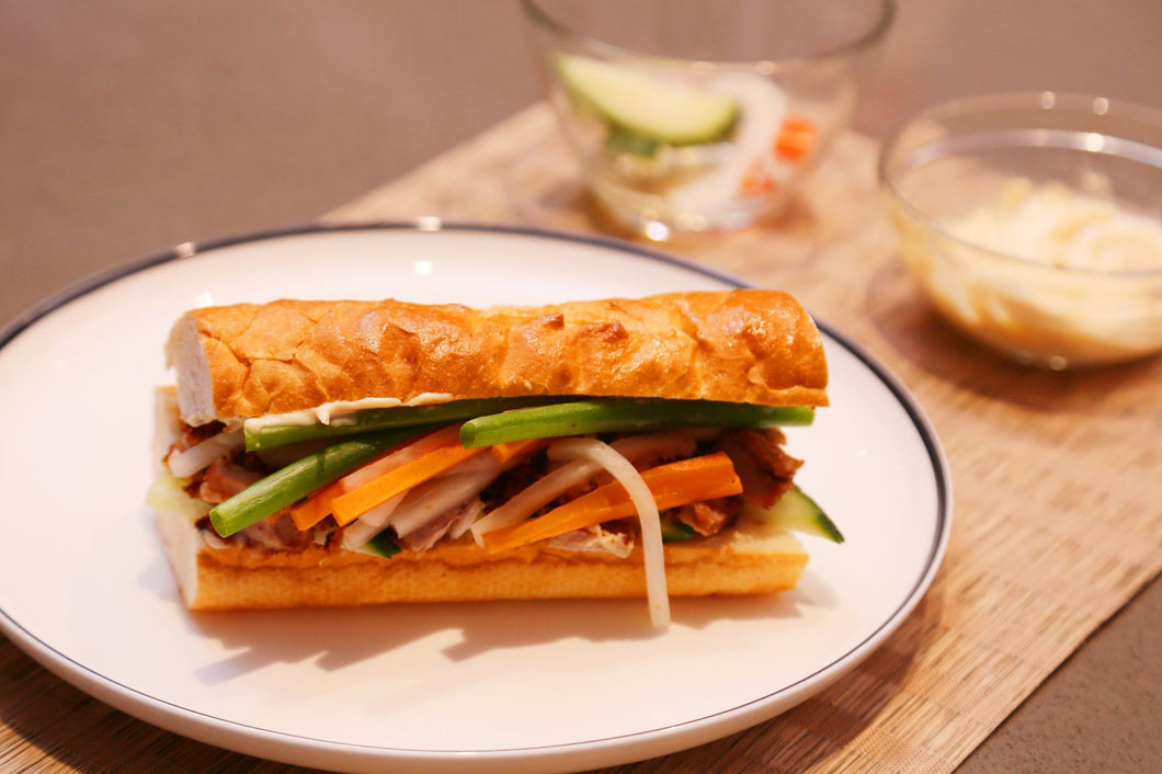 Slow Cooked Crispy Skin Pork Belly Banh Mi