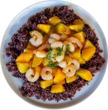 Load image into Gallery viewer, Yellow Squash and Shrimp Stir-fry over Purple Rice