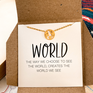 This meaningful gift acknowledges the inspiring nature, fascinating cultures, enticing art and constant adventure our world offers us. A thoughtful traveler gift, adventurer gift, graduation gift, friend gift, and birthday gift. There will be ups and downs along her path. But her life  is to be enjoyed and learned from,, every time she sees this necklace she will be reminded to look around and see all the good she is blessed with.
