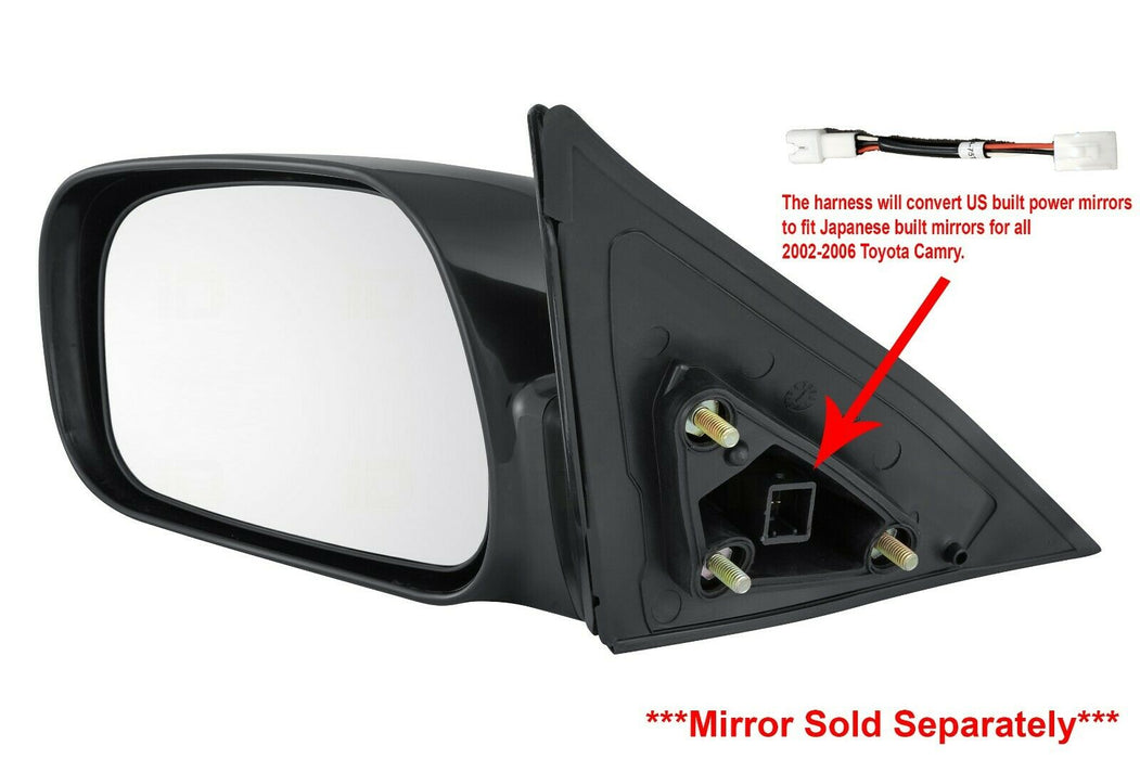 Fits Toyota Camry Japan USA 02-06 Set of Side View Power Mirrors with Adapters