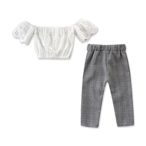 GIRLS LACE CROP TOP AND HIGH-WAIST PANT SET
