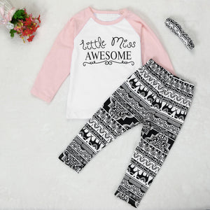 GIRLS LONG SLEEVE 3-PIECE SET WITH LEGGINGS