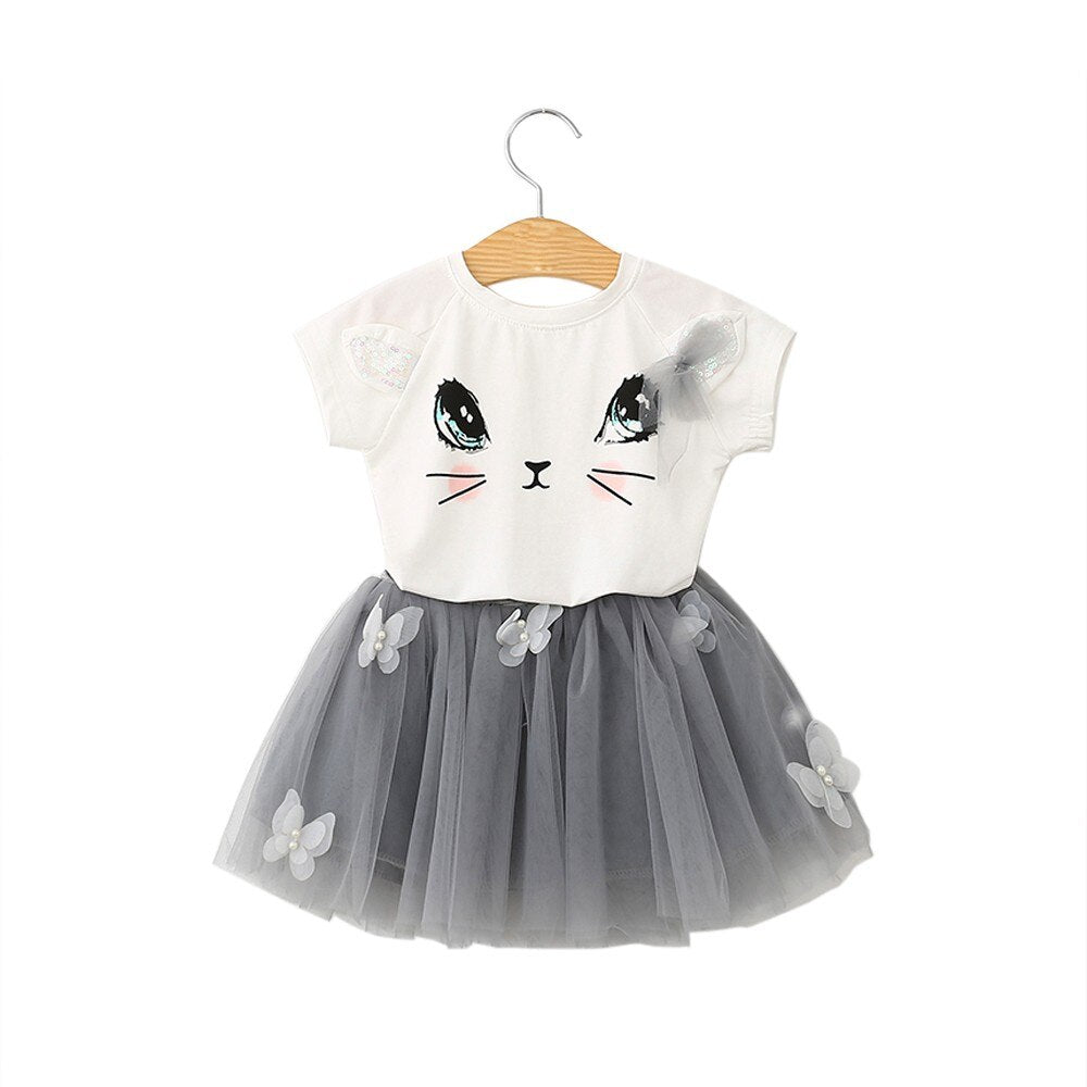 "PURRY LADY"" GIRLS SHIRT AND SKIRT SET"