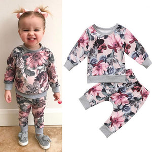 BABY GIRLS 2-PIECE FLORAL FALL SET