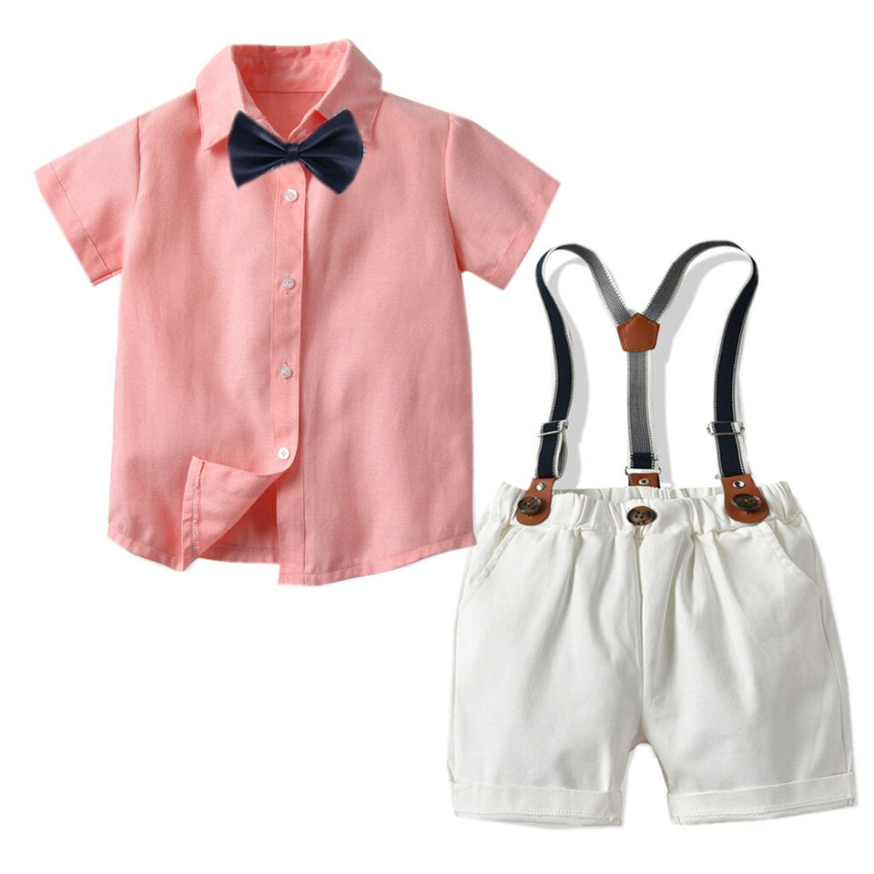 """Little Gent"" Salmon Shirt Set"