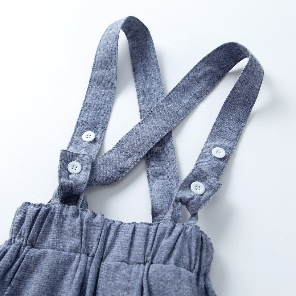 BOYS BLUE OVERALL & BOW TIE SET