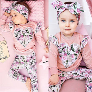 GIRLS FLORAL HEART 3-PIECE SET