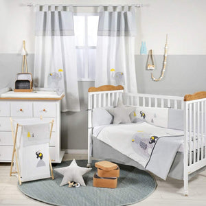 GRAY AND YELLOW ELEPHANT CRIB BED SET