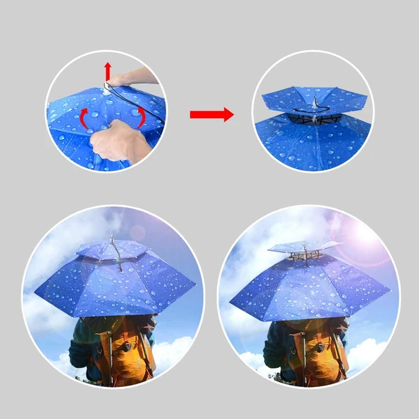 Double-layer head-mounted umbrella(2pcs free shipping)