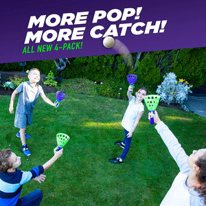 Double Pop and Catch Ball Game Set(2 launchers+3 balls)