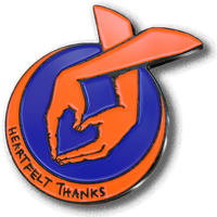 3D render showing blue and orange pin badge with hands making heart symbol.