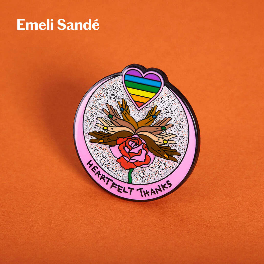 Emeli Sandé designed rainbow pin badge for Pin Your Thanks.