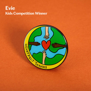 Evie pin badge with heart orange background