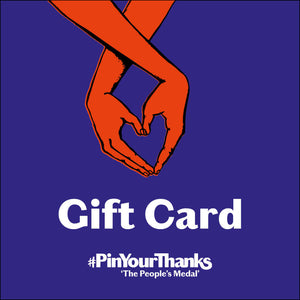 Gift Card showing heart shaped hands on blue background. the #PinYourThanks logo and the words Gift Card