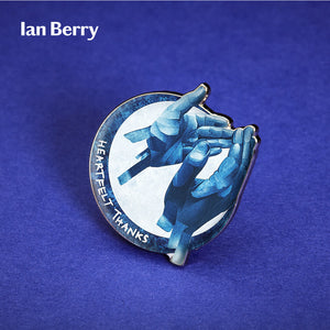 3D Render of Ian Berry pin badge.