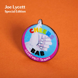 3D Render of Joe Lycett Special Edition Pin Badge - Thumbs Up