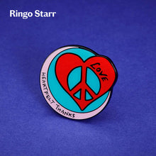 Load image into Gallery viewer, Ringo Starr pin badge with heart, peace and love symbol photographed on an blue background