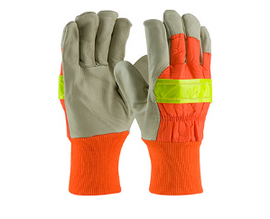 West Chester Top Grain Pigskin Leather Palm Glove with Hi-Vis Nylon Back and 3M Thinsulate Liner - Knitwrist - price per dozen