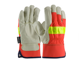 West Chester Top Grain Pigskin Leather Palm Glove with HI-Vis Nylon Back and 3M Thinsulate Liner - Rubberized Safety Cuff  - price per dozen