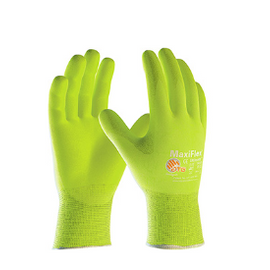 West Chester MaxiFlex Ultimate Hi-Vis Seamless Knit Nylon/Lycra Glove with Nitrile Coated MicroFoam Grip on Palm & Fingers