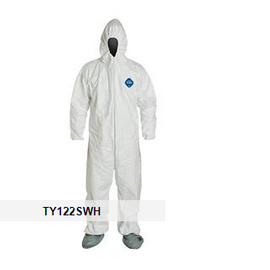 DuPont™ Tyvek® 400 Coveralls with Respirator Fit Hood, Elastic Wrists, & Attached Skid-Resistant Boots, 25 per case