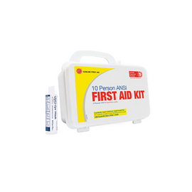Genuine First Aid Kit, 10 Person with Eyewash, Weatherproof Plastic
