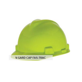 MSA V-Gard Protective Cap - Standard Slotted Cap, with Fas-Trac Suspension -  ANSI Z89.1, Class E -VARIOUS COLORS